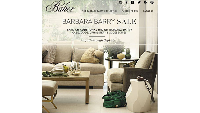 BAKER FURNITURE SALE (AUGUST 18 - SEPTEMBER 30, 2014)