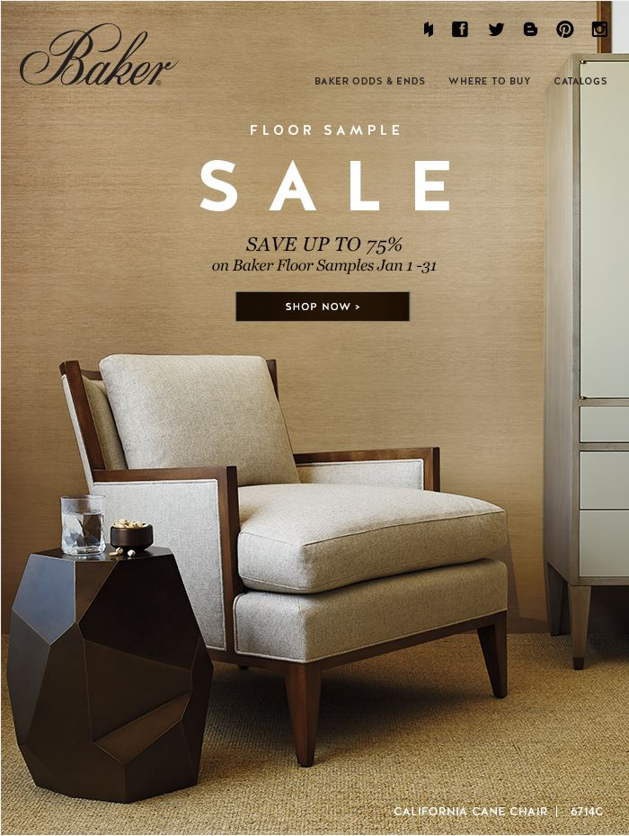 BAKER FURNITURE FLOOR SAMPLE SALE  (JANUARY 1-31, 2015)